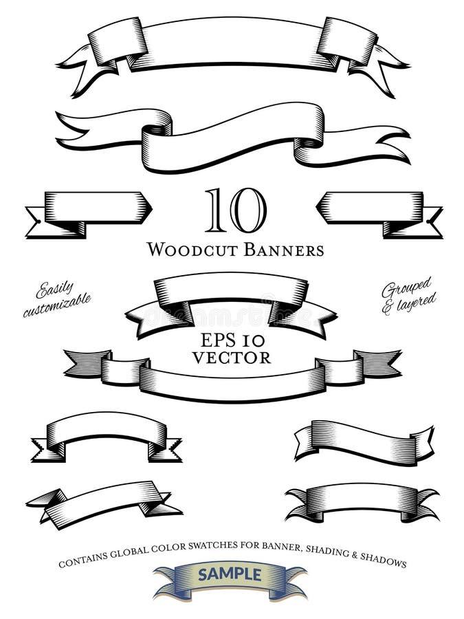 Holzschnitt-Fahnen-Vektor-Satz lizenzfreie abbildung