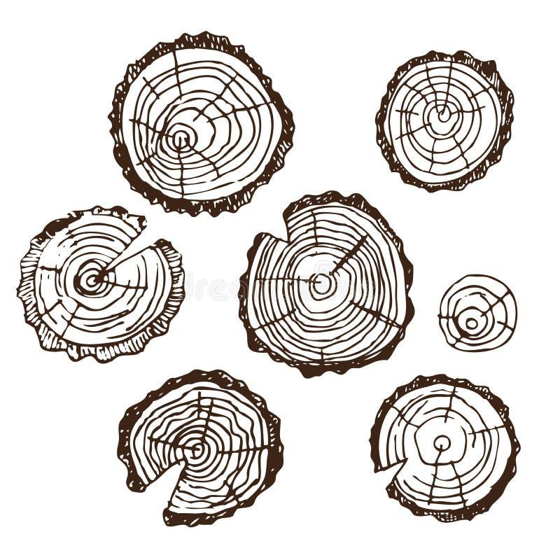 Holzschnitt, Holz für Designmuster, Rahmen, Hintergründe, für russisches Bad für Körperhygiene Satz Zubehör für Bad stock abbildung
