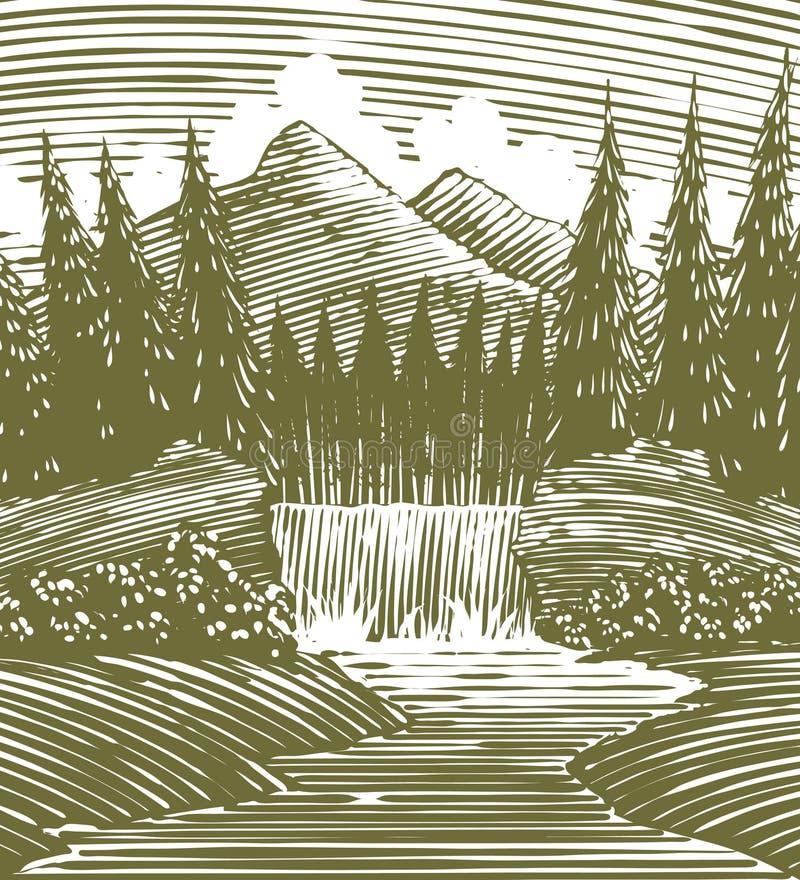 Holzschnitt-Wasserfall-Wildnis stock abbildung