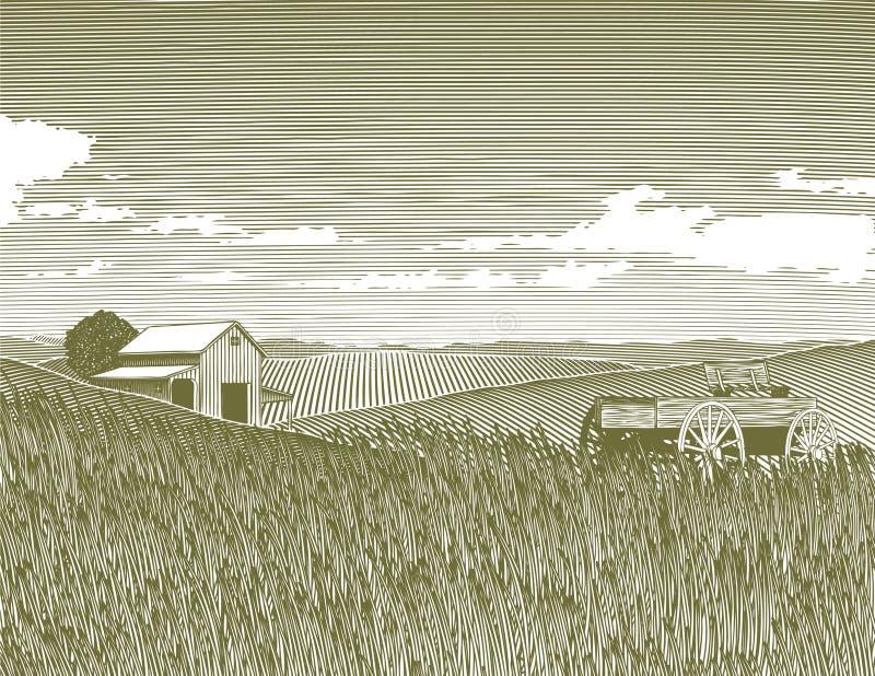 Holzschnitt-Weinlese-Bauernhof lizenzfreie abbildung