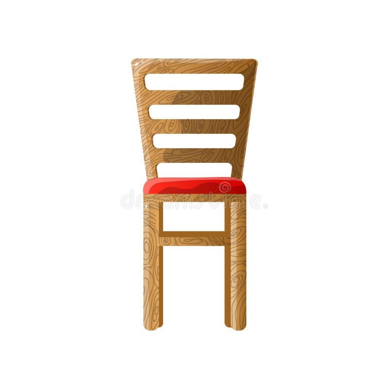 Holzstuhl mit Lamellenrückseite und weichem rotem gepolstertem Sitz lizenzfreie abbildung