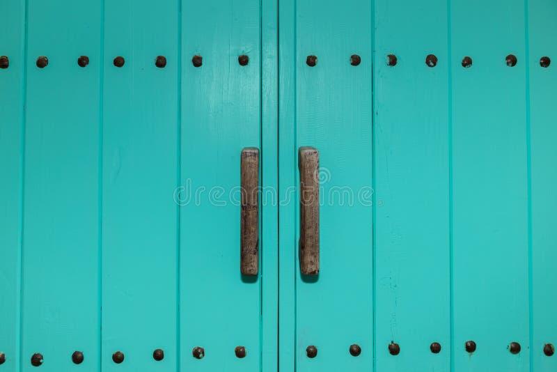 Holztürgriffe auf grüner Tür lizenzfreie stockfotos