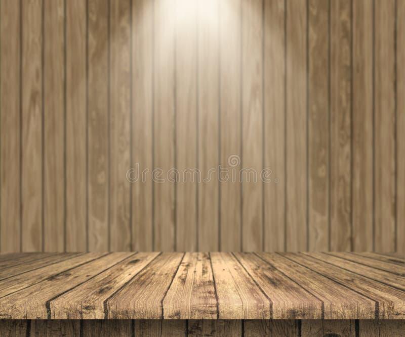 Holztisch 3D, der heraus zu einer hölzernen Wand mit Scheinwerferschienbein schaut lizenzfreie abbildung