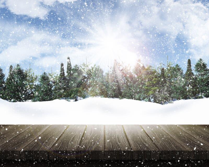 Holztisch, der heraus zu einer schneebedeckten Baumlandschaft schaut vektor abbildung