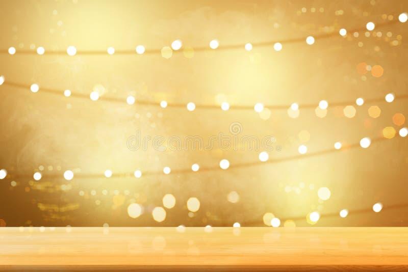 Holztisch mit undeutlichen Lichtern vektor abbildung