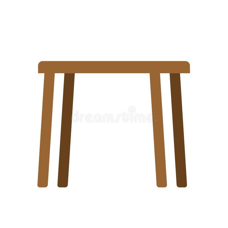 Holztischleeres lokalisiert Möbel auf weißem Hintergrund vektor abbildung