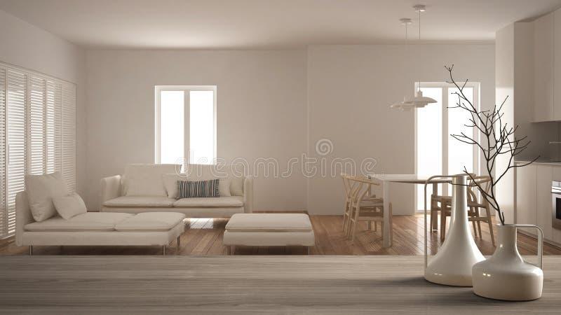 Holztischspitze oder -regal mit minimalistic modernen Vasen über unscharfem unbedeutendem zeitgenössischem Wohnzimmer mit Küche,  stockfotografie