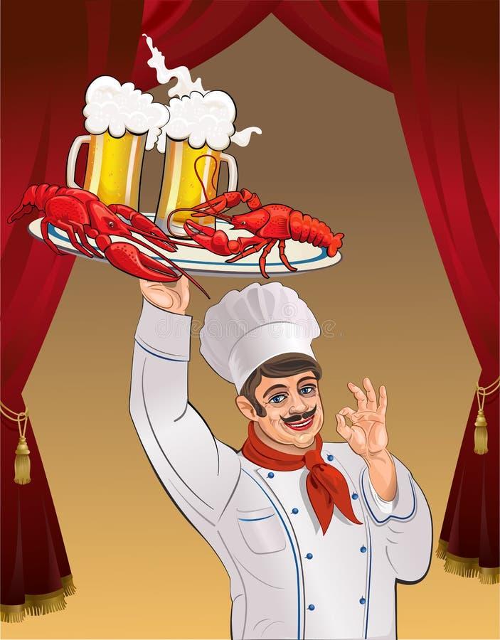 Homar i piwo royalty ilustracja