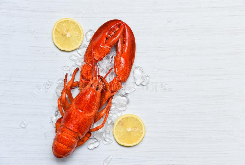 Homara jedzenie na lodowej owoce morza garneli z cytryną na białym drewnianym stołowym obiadowym tle obraz stock