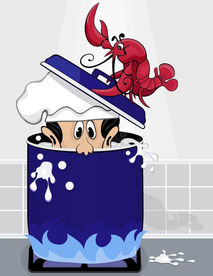homara wrzący naczelny garnek stawia wodę royalty ilustracja