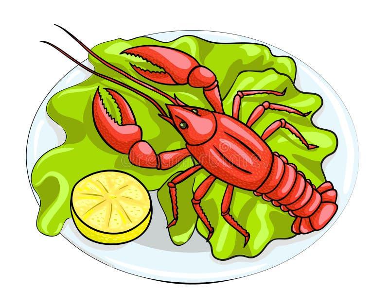 Homard sur un plat avec le citron illustration libre de droits