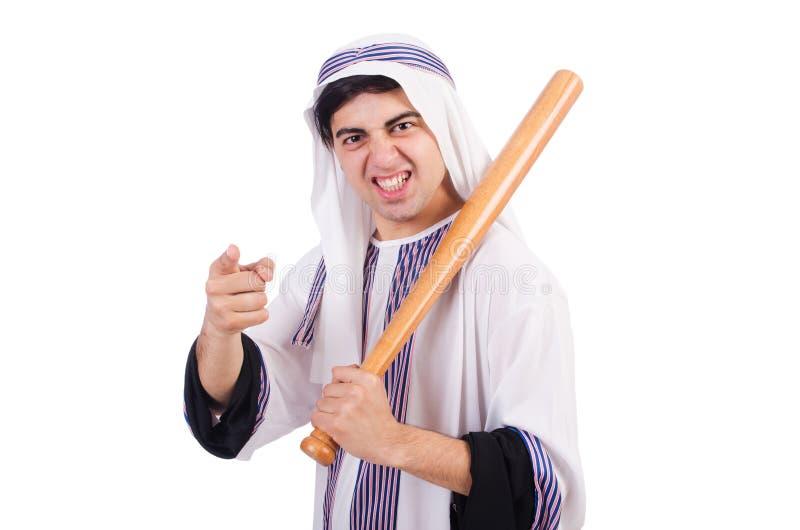 Hombre árabe agresivo con el bate de béisbol fotografía de archivo libre de regalías