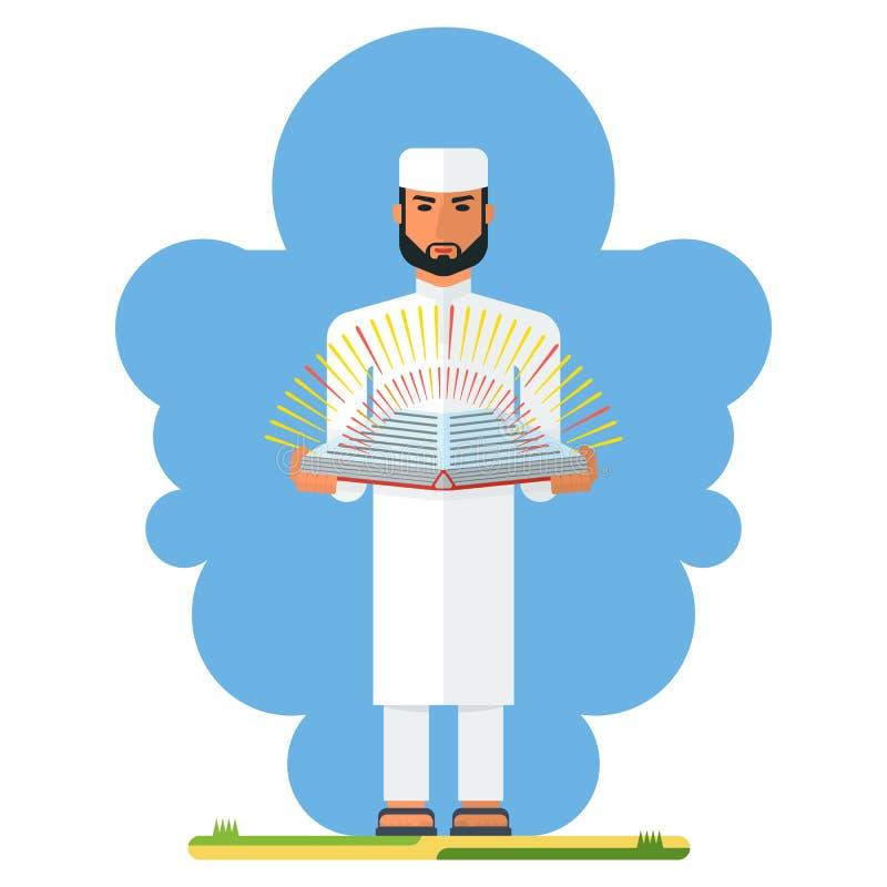 Hombre árabe con el libro stock de ilustración