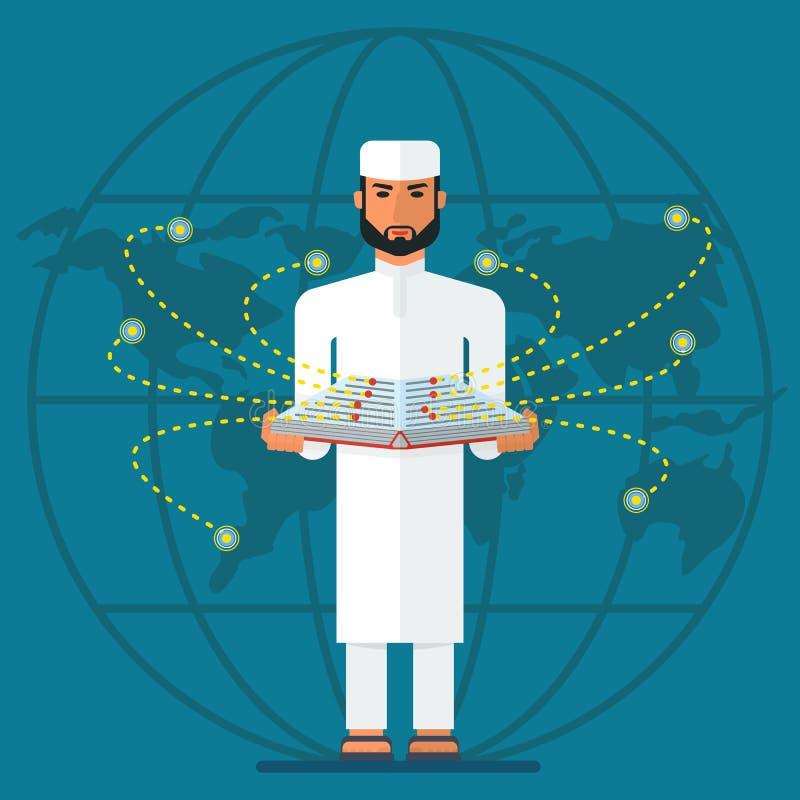 Hombre árabe con el libro y el mundo libre illustration