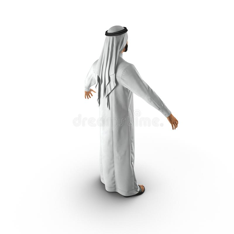Hombre árabe en blanco ilustración 3D stock de ilustración