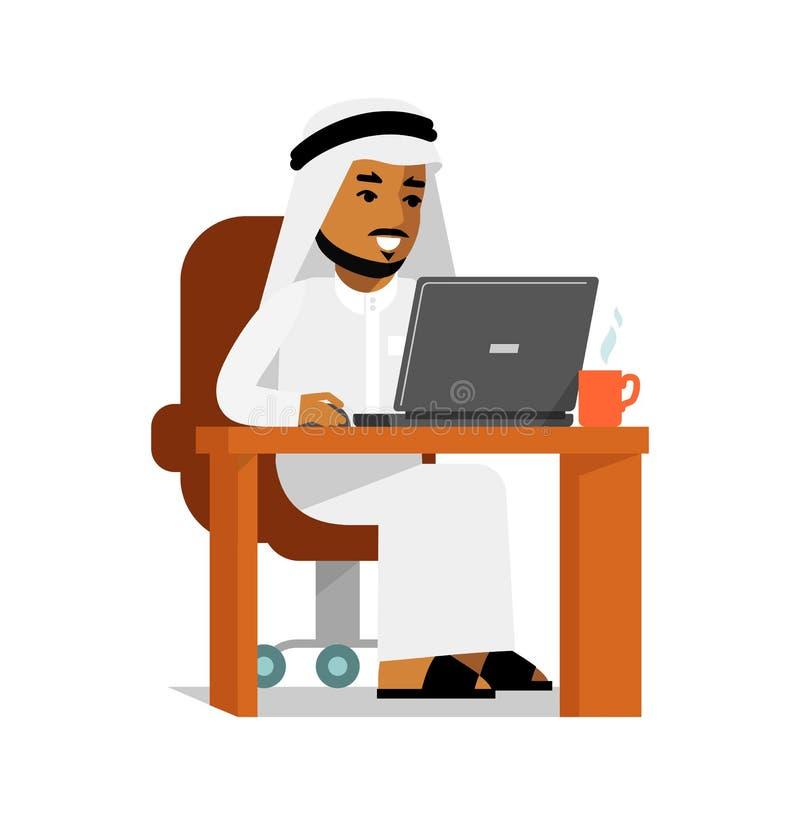 Hombre árabe en concepto de trabajo de Internet del ordenador libre illustration