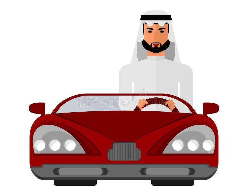 Hombre árabe en un coche rojo stock de ilustración