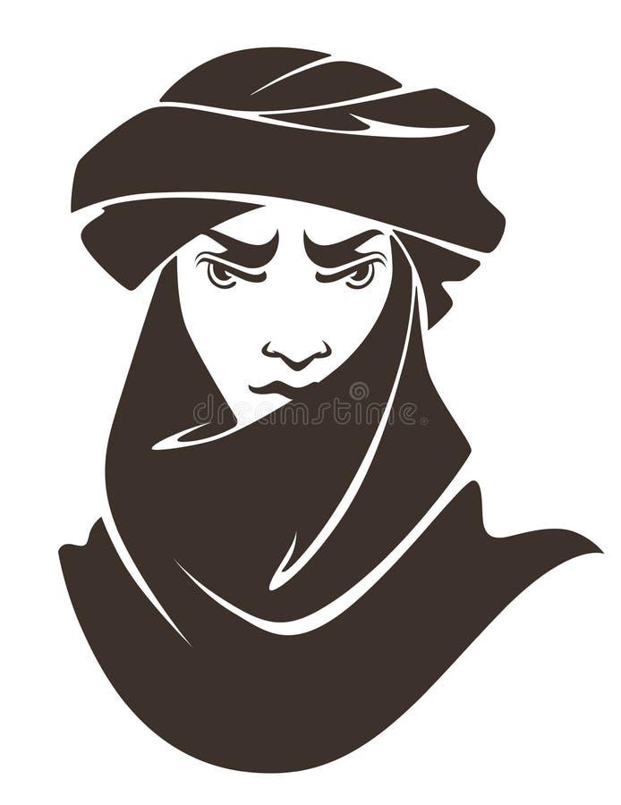 Hombre árabe hermoso stock de ilustración
