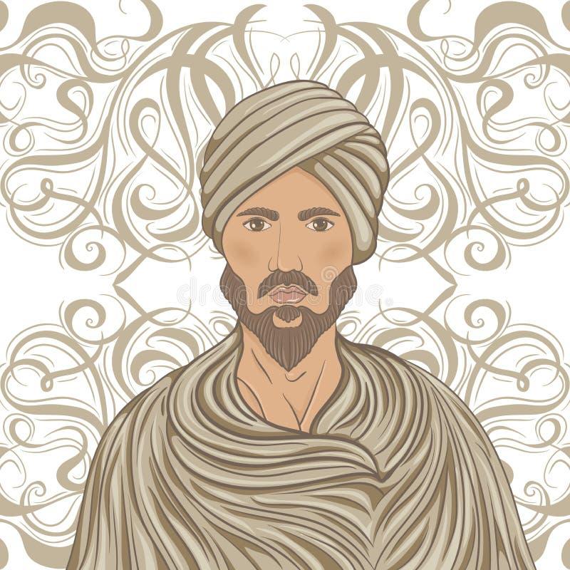 Hombre árabe hermoso con el bigote y barba en un turbante sobre modelo adornado ilustración del vector