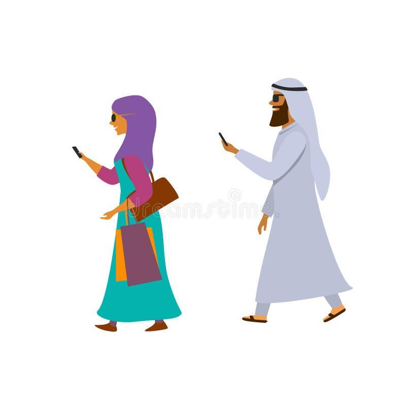Hombre árabe y mujer que caminan con los smartphones que mandan un SMS a vector de la historieta stock de ilustración