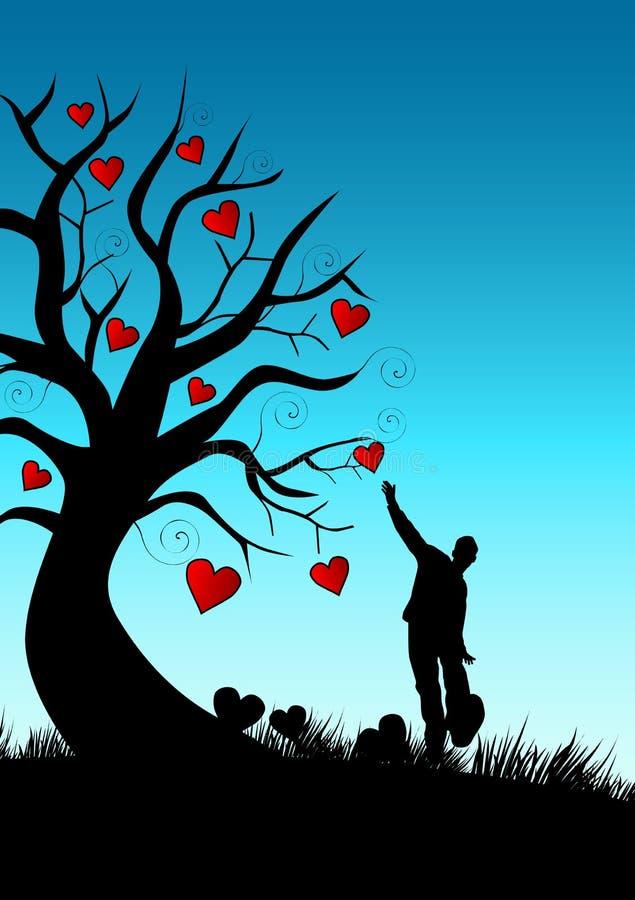 Hombre - árbol - corazones stock de ilustración