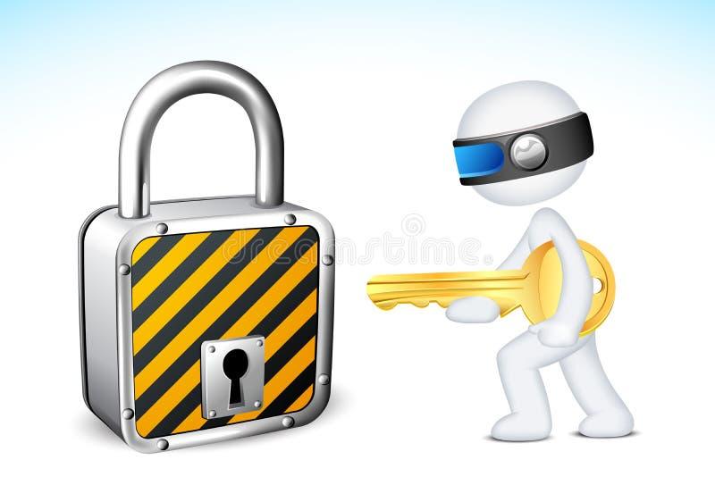 hombre 3d con el bloqueo y el clave stock de ilustración