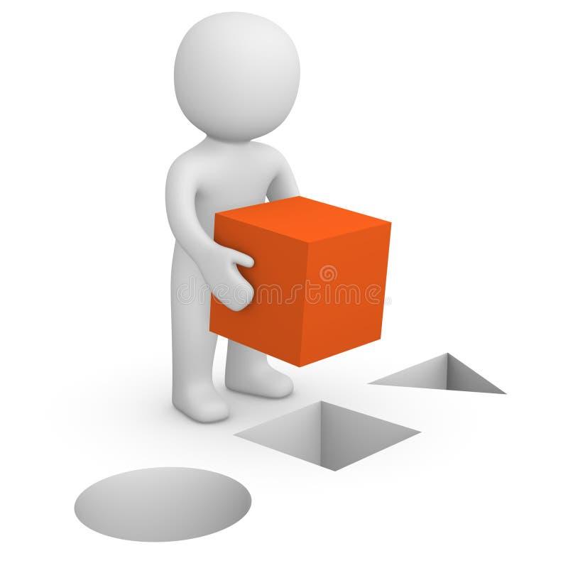 hombre 3d con el cubo rojo ilustración del vector