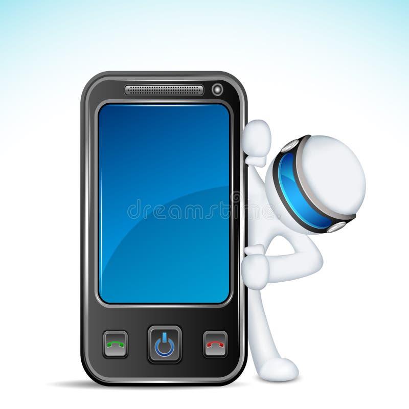 hombre 3d con el teléfono móvil libre illustration
