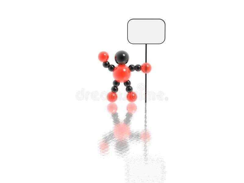 hombre 3d con la muestra en blanco ilustración del vector