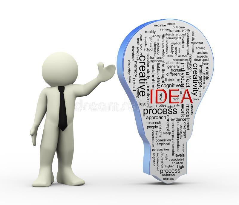 hombre 3d con las etiquetas de la palabra del bulbo de la idea stock de ilustración