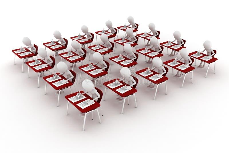 hombre 3d en la sala de clase, prueba del examen stock de ilustración