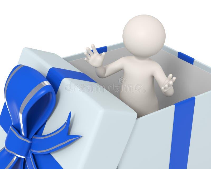 hombre 3d en un rectángulo de regalo azul ilustración del vector