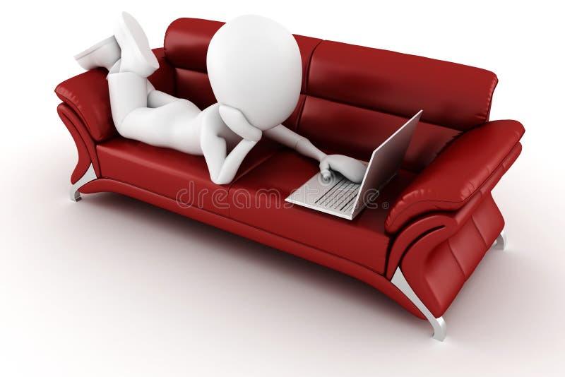hombre 3d en un sofá rojo, trabajando en la computadora portátil de los hes libre illustration