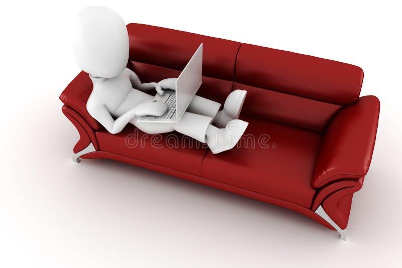hombre 3d en un sofá rojo, trabajando en la computadora portátil de los hes ilustración del vector