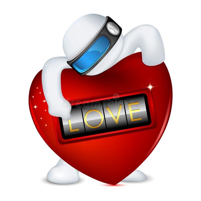 hombre 3d en vector con el bloqueo del amor stock de ilustración