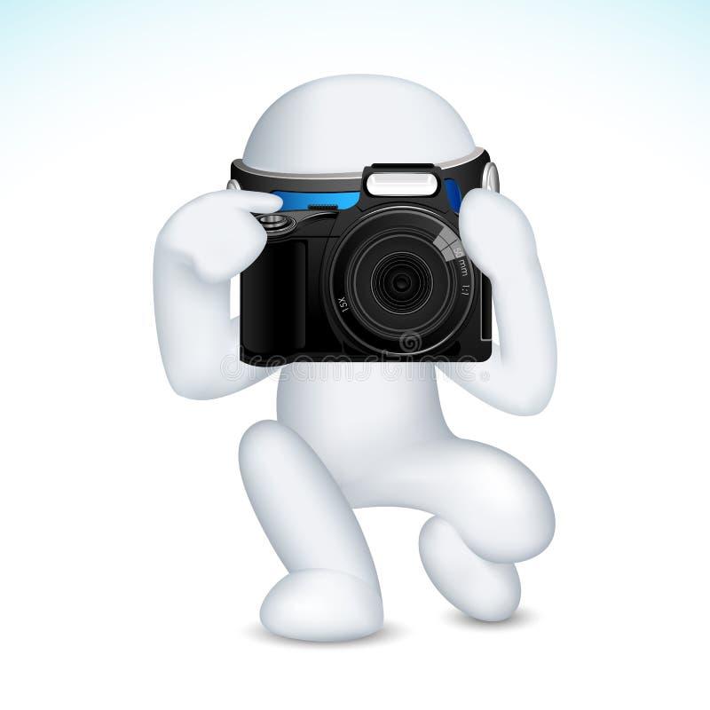 hombre 3d en vector con la cámara stock de ilustración