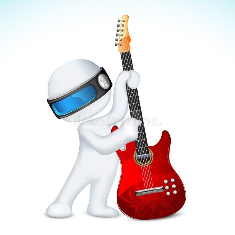 hombre 3d en vector con la guitarra libre illustration