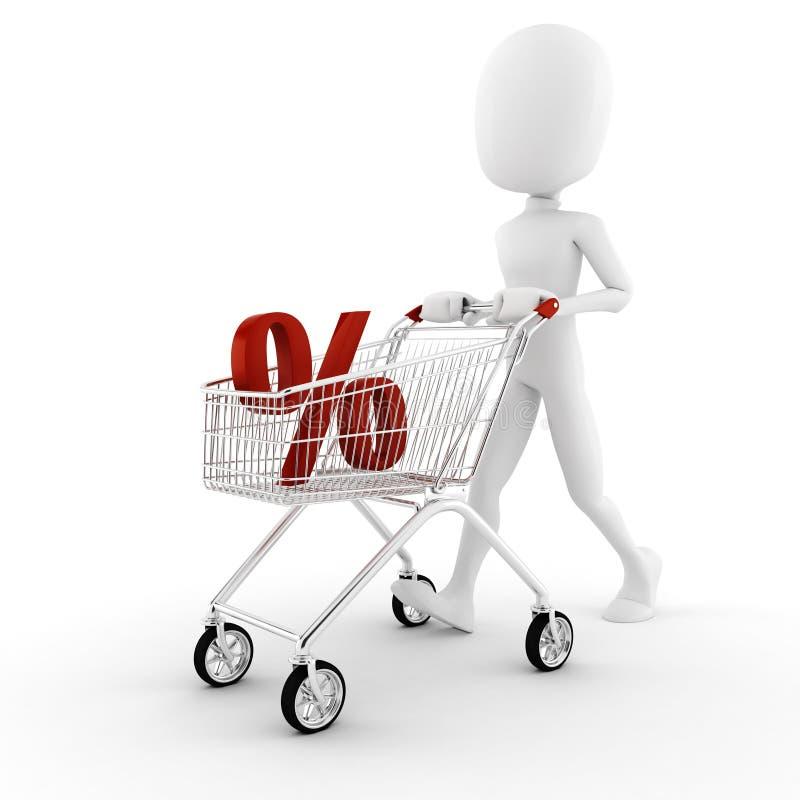 hombre 3d pusing un carro de compras libre illustration