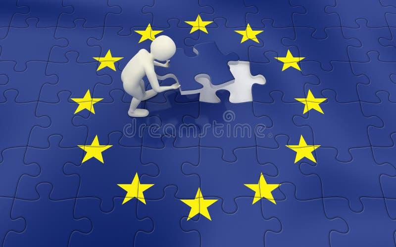Hombre 3d Que Concluye Rompecabezas Del Indicador De Unión Europea Foto de archivo