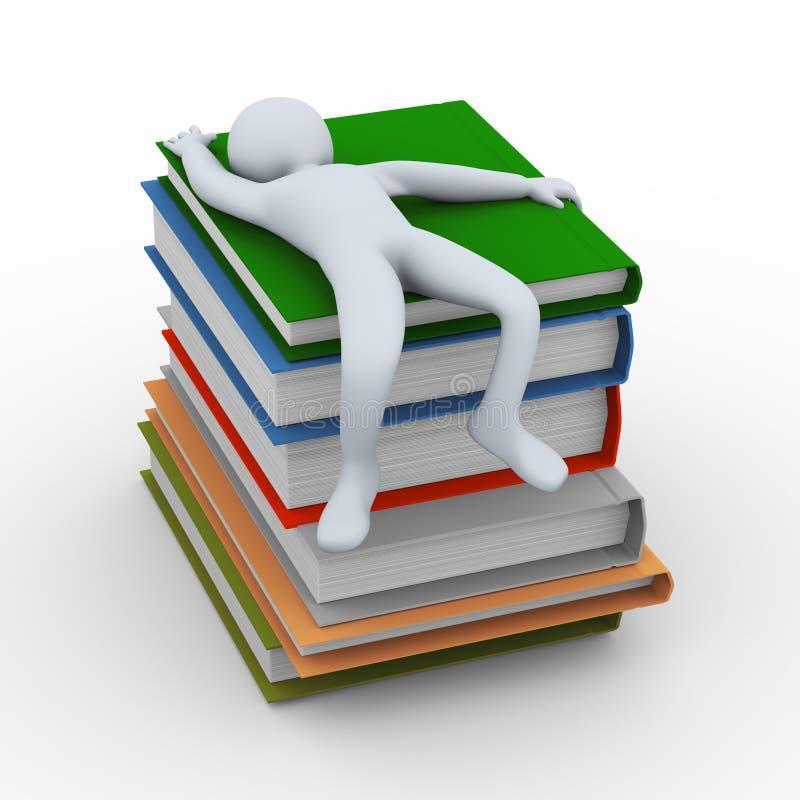 hombre 3d que duerme en los libros stock de ilustración