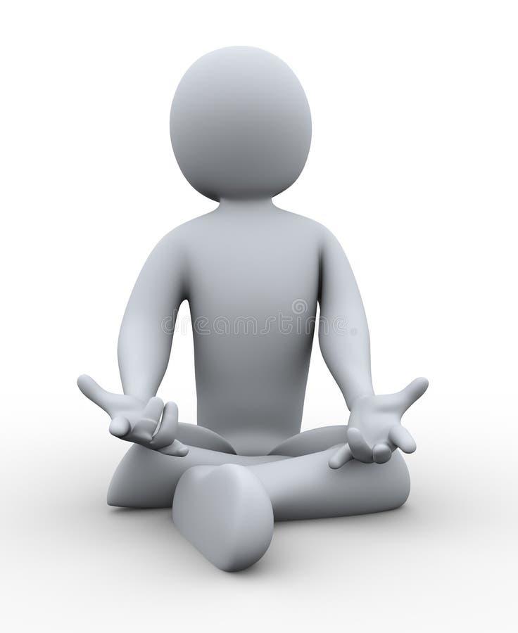 hombre 3d que hace yoga ilustración del vector