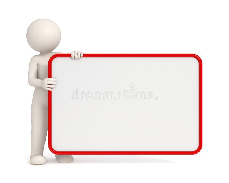 hombre 3d que lleva a cabo a una tarjeta vacía con el marco rojo libre illustration