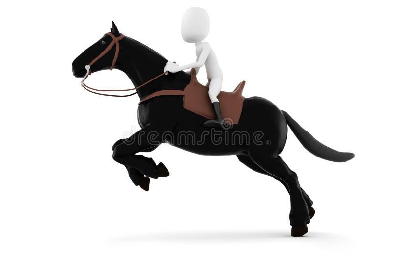 hombre 3d que monta un caballo en el fondo blanco stock de ilustración