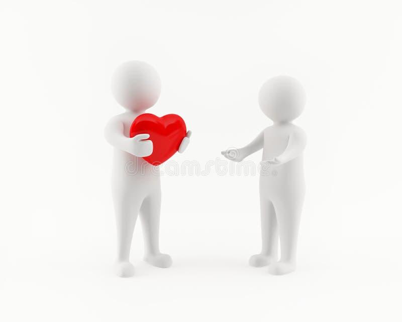 hombre 3D que ofrece un corazón rojo a una mujer ilustración del vector
