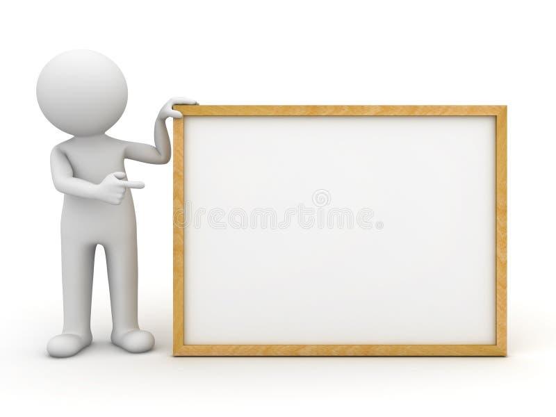 hombre 3d que presenta a la tarjeta en blanco ilustración del vector