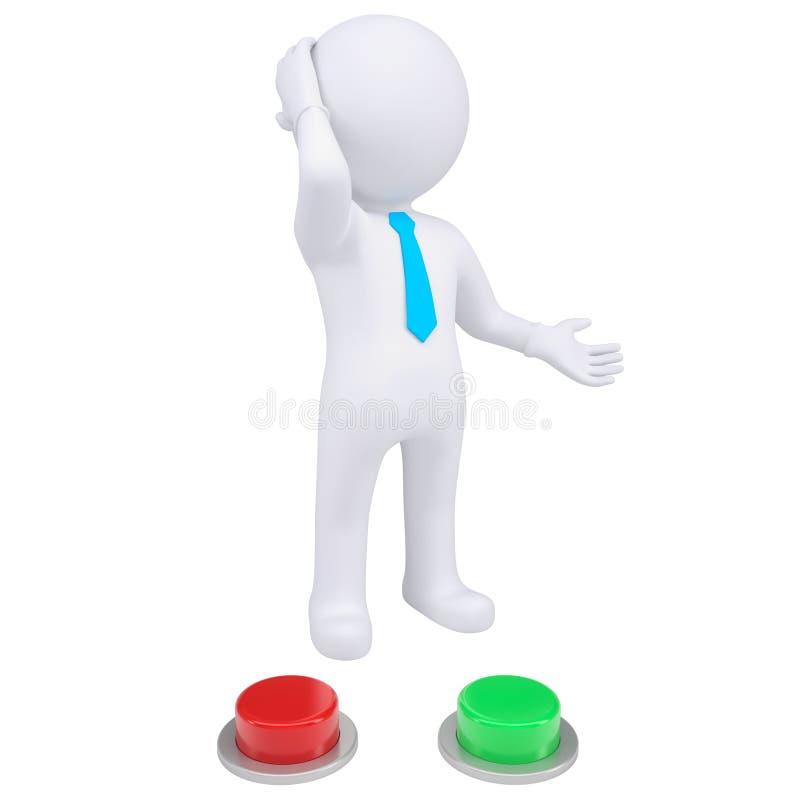hombre 3d que se coloca cerca de los botones rojos y verdes ilustración del vector
