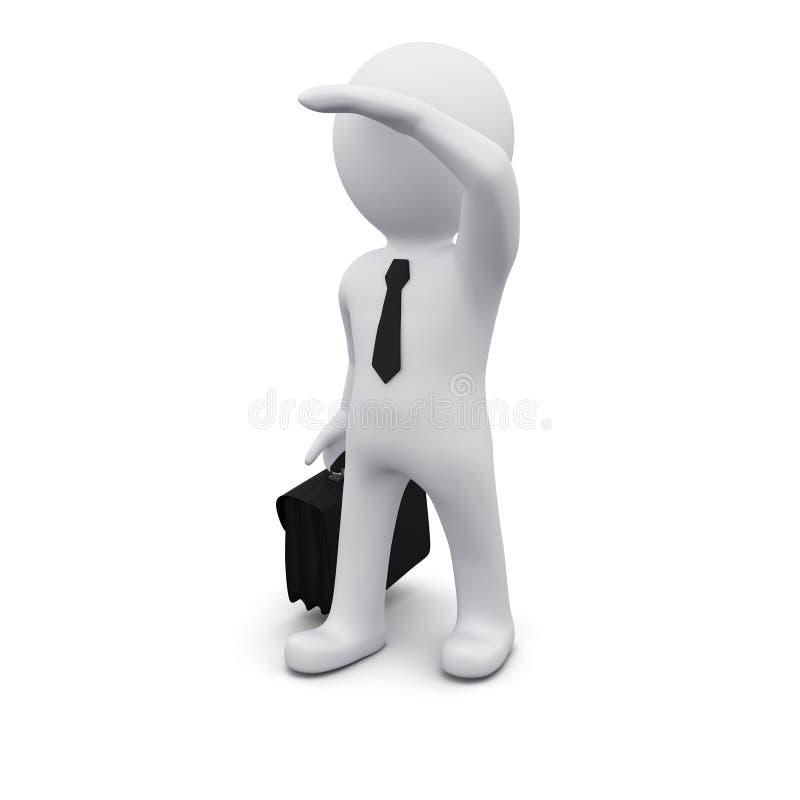 hombre 3D que se coloca y que mira adelante stock de ilustración