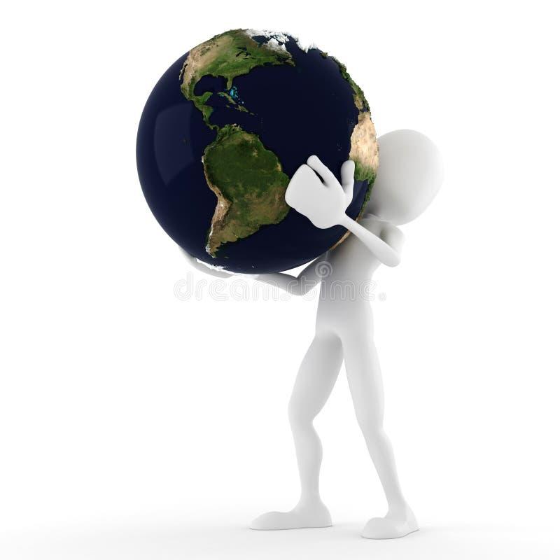 hombre 3d que sostiene la tierra, aislada en blanco stock de ilustración