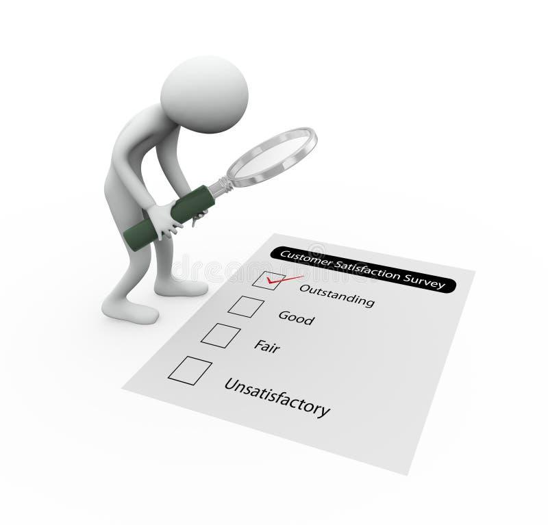 hombre 3d y cuestionario de la encuesta libre illustration