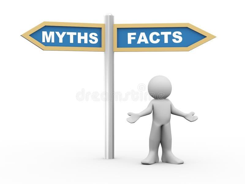 hombre 3d y hechos contra señal de tráfico de los mitos stock de ilustración